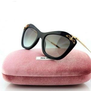 Miu Miu Genuine Black Havana Crystal Sunglasses